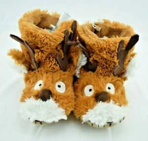 Little Blue House - Brown Reindeer Cozy Slouch Slippers Kids Sz: Med (8/10) New