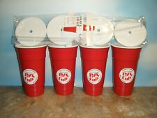 4 RED DOUBLEWALL INSULATED 32 OZ PARTY CUPS W/ LIDS & STRAWS  *NEW*