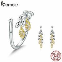 BAMOER Gold CZ Jewelry Sets S925 Sterling silver wheat Earrings Ring For Women