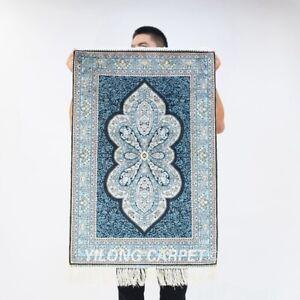 Small 2x3ft Handmade Silk Carpet Blue Porch Villa Traditonal Area Rug Y189A