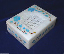 "4""x3""x1.25"" White Marble Jewelry Box Handmade Turquoise Marquetry Inlaid Decor"