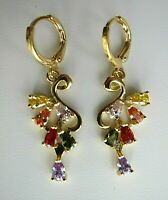 18K Yellow Gold Filled Drop Earrings Multi-colour Zircon - NEW.