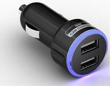 CAR CHARGER DOUBLE USB TWIN 2 DUAL BLACK 12-24V CIGARETTE SOCKET LIGHTER PORT