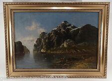 Gemälde Öl auf Leinewand-Die Bucht mit Segeschiff- 112x82cm aussen- 93x62,5cm in