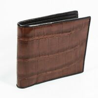 Real Brown Alligator Crocodile Belly Leather skin Mens Bi-fold Wallet.