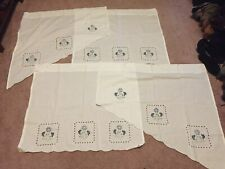 Cutwork Kitchen Curtain Valance, Tier, Swag White with purple floral embroidery