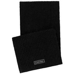 $55 Calvin Klein Men's Cardigan Ribbed Knit Logo Scarf, Deep Black, One Size
