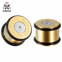 Gold Bullet Shape Design Ear Gauges and Ear Tunnels Body Jewelry Ear Plugs 2pcs