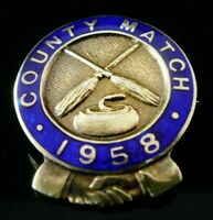 Silver Gilt Enamel CURLING Count Match 1958 Badge, Vaughton & Sons