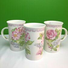 New Roy Kirkham SET 3 FINE BONE CHINA mugs MADE IN ENGLAND Lilac And Roses 2001