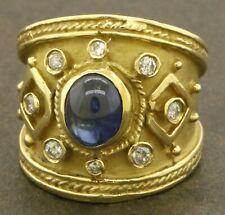 Vintage heavy 18K gold 1.79CTW diamond & cabochon Blue sapphire cocktail ring