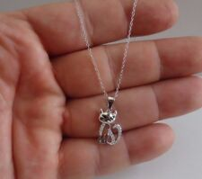 CAT NECKLACE PENDANT W/ LAB DIAMONDS / 925 STERLING SILVER / 18'' / 11MM BY 17MM