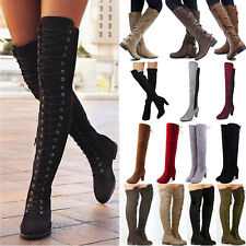 Womens Ladies Over The Knee High Riding Boots Lace Up Zip Low High Heel Shoes