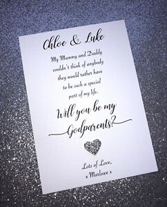 Personalised Will you be my Godmother/Godfather/Godparents Card Sheet + Envelope