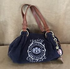 Juicy Couture LIVE FOR SUGAR blue terry cloth leather dreamer hobo purse tote