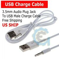3.5mm AUX Audio Plug Jack to USB 2.0 Male Charge Cable Adapter Cord Car iPod MP3