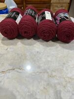 NEW Caron Kolor Match Yarn Worsted Weight 4 Ply Lot Of 4 Skeins 8ozBurgundy red