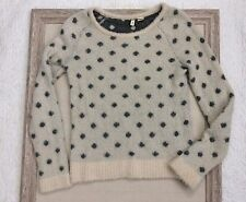 Womens Moth Anthropologie Long Hair Fuzzy Pullover Sweater sz Medium Polka Dots