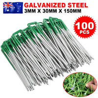 100 Lawn Turf Pad Pins U Pegs Synthetic Artificial Fake Weed Grass Mat fixed Peg