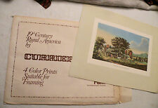 """Set of 4 Currier & Ives Color Prints - Rural Fall/Winter Scenes, 11.5"""" by 7.5"""""""