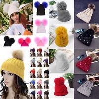 Women Ladies Faux Fur Pom Pom Bobble Hat Winter Warm Knitted Wool Ski Beanie Cap