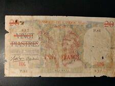 More details for 100 cent francs , banque de l'indochine  over print over 20 piastres - very rare