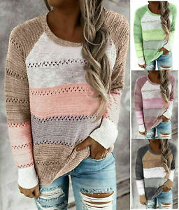 Winter Womens Long Sleeve Jumper Blouse Tops Striped  Sweater Pullover plus Size