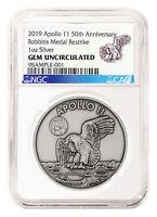 1969-2019 Apollo 11 Robbins Medals 1 oz Silver Antiq Medal NGC GEM Unc SKU55135
