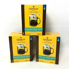 Lot of 3 Gevalia Kaffe One Cup Pour Over Costa Rica Dark Roast Coffee, 8 Per Box