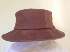NEW BROWN DISTRESSED LEATHER BUCKET HAT ** MENS SUN SHADY HIP HOP SKATEBOARD