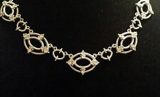 "Unique JUDITH RIPKA Sterling Silver & CZ Lattice Lace 18"" Necklace, WONDERFUL"