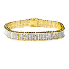 Gold Diamond Bracelet 1 Ct Tdw Bracelet Rhodium Over Brass Round Cut Gift New