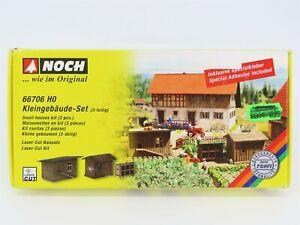 HO 1:87 Scale Noch #66706 3 Small Houses Set Laser Cut Cardboard Building Kit