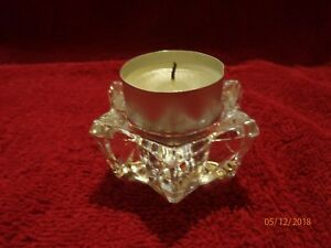 3 x Crystal Effect star shaped Glass Tea Light Candle Holders