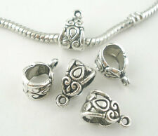 20Pcs Bails Beads European Silver Tone Heart Pattern Fit Charms Bracelet 14x8mm