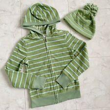 Set: Fleece Green & Blue Striped Jacket & Hat
