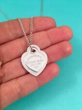 Tiffany & Co Sterling Silver & Mother Of Pearl Double Heart Necklace 16""