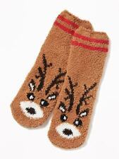 OLD NAVY Cozy Reindeer Socks Kids Warm NEW Brown and Red Comfy Antlers