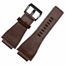 New 24mm Brown Leather Watch Strap band Compatible with Bell&Ross Black Buckle