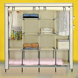 Waterproof Fabric Canvas Wardrobe Hanging Rails Large Clothes Storage Cupboards