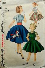 Vtg 50s Girl's Blouse Jumper Circle Skirt w/ Pony Simplicity 1741 Breast 25 S7