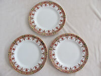 Arklow Alton -Rust Swags- Gold Trim- Ireland - Set of 3 Dinner Plates- Imperfect