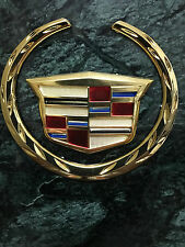 New Gold Plated Cadillac Wreath&Crest Emblem Badge/2 piece/ 6.25 w/Color Fast