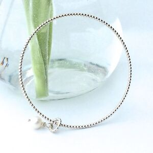 Sterling Silver Handmade Bangle with Freshwater Pearl, Beaded Pearl Wire