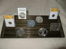 Encapsulated Coin Display Wood  5 Tiers->Ebony Stn->Wide Rows for Plastic Case