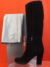 NIB PRADA BLACK SUEDE CLASSIC ZIP TALL KNEE HIGH PLATFORM LOGO BOOTS 41 10