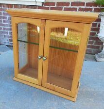 Vtg Small Curio Cabinet Wall Mount Display Glass Etch Shelf Storage
