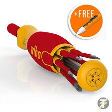 Wiha 38613 6 Piece Slim-Bit VDE LiftUp Magazine Bit Holder/Screwdriver+Voltstick