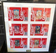 Set Of 6 Framed Coke Coca-Cola Genuine Memorabilia Vintage Australian Cans 1989
