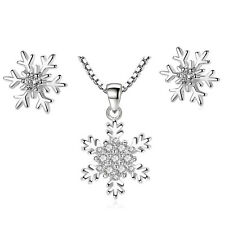 925 Sterling Silver Snowflake Crystal Earrings Pendant Necklace Christmas Gifts